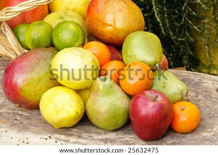 Composition with varied fruits and basket outdoor with natural background