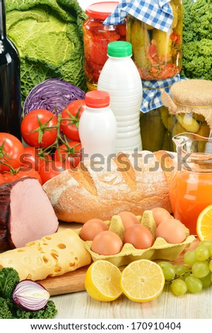 Composition with variety of grocery products - stock photo