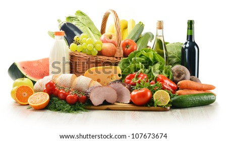 Composition with variety of grocery products including vegetable, fruits, meat, dairy and wine - stock photo