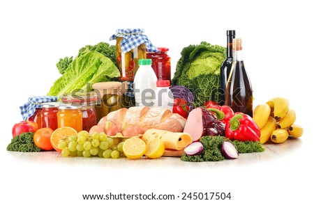 Composition with variety of grocery products isolated on white. - stock photo