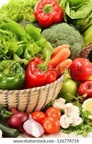 Composition with variety of raw vegetables. Vegetarian diet