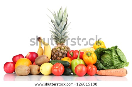 Composition with vegetables and fruits isolated on white - stock photo