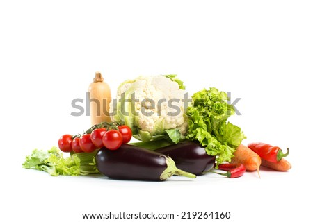 Composition with vegetables isolated on white
