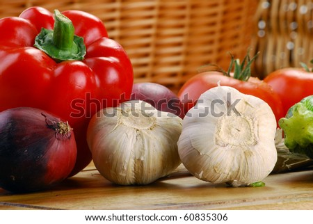 Composition with vegetables on the table - stock photo