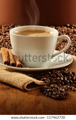 Composition with white cup of coffee - stock photo