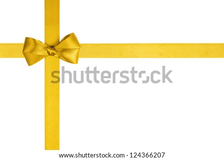 composition with yellow ribbons and a simple bow isolated on white