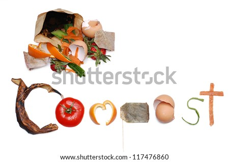 Compost message written out in kitchen scraps with a pile of compost in the top left corner. With room for text. - stock photo