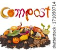 compost  pile soil of kitchen scraps close up isolated on white background - stock photo