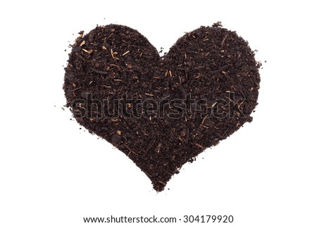 Compost, soil or dirt in a heart shape, isolated on a white background - stock photo