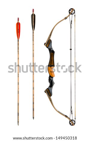 compound bow and arrows isolated on white - stock photo