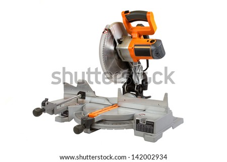 Compound miter saw isolated on a white background. - stock photo