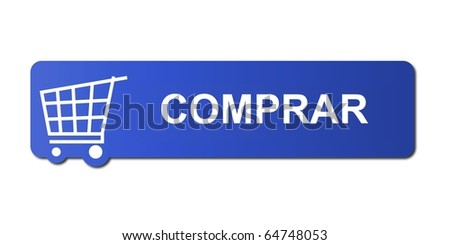 Comprar button with a shopping cart on white background.