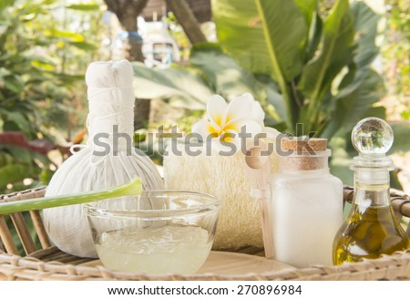 Compress with aloe vera and olive oil, Herbal, Salt, spa concept. - stock photo