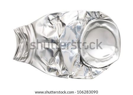 Compressed aluminum bottle isolated on white background - stock photo