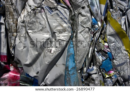 Compressed bale of printing plates for recycling - stock photo