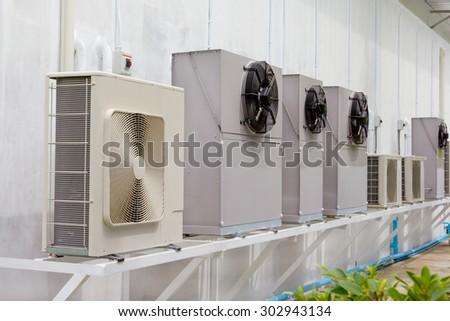 compressor unit of air conditioner - stock photo