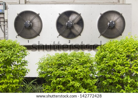 compressor unit of air conditioner in spinning mode - stock photo