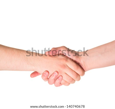 Compromise deal handshake caucasian hand composition isolated over white background - stock photo
