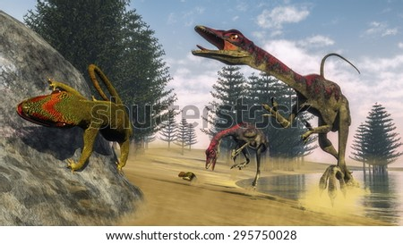 Compsognathus dinosaur hunting a gecko in a lagoon with calamite trees by day - 3D render - stock photo