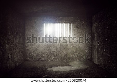 Compulsive Consumerism Concept, Empty Concrete Prison Cell with Bar code shaped Window. Sun rays and sun flare through the prison bars. - stock photo