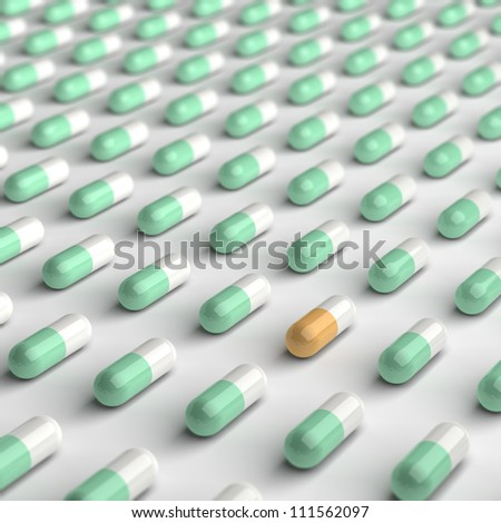 Computed generated image of orange and green pills.