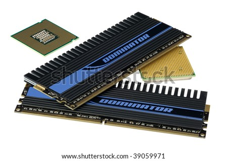 Computer accessories, central processors and memory, isolated, hyper DoF.