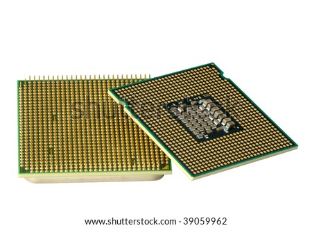 Computer accessories, modern central processors, isolated,  turned, hyper DoF.