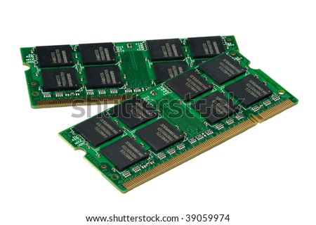 Computer accessories, the laptop memory, isolated, hyper DoF. - stock photo