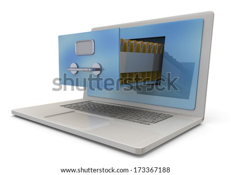 Computer and Archive Concept - 3D - stock photo