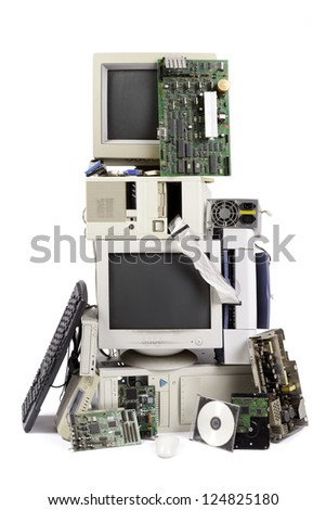 computer and electronic waste - stock photo