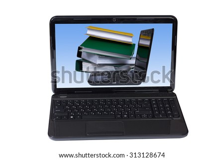 Computer and folders with documents in different colors isolated on white background.