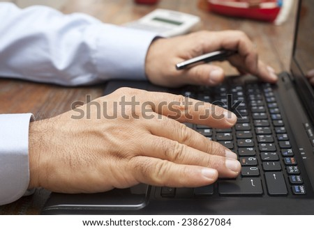 computer and hands - stock photo