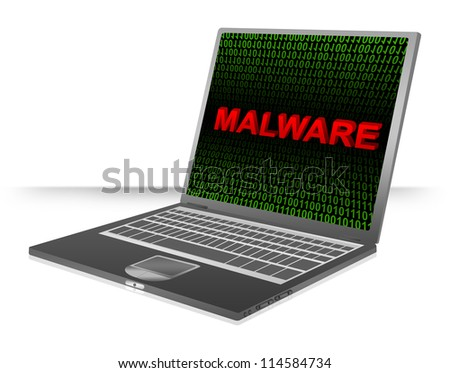 Computer And Internet Security Concept Present by Computer Laptop With Red 3D Malware Text In Green Binary Code Screen - stock photo