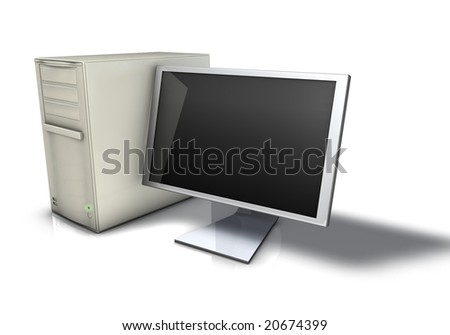 Computer and Monitor - stock photo