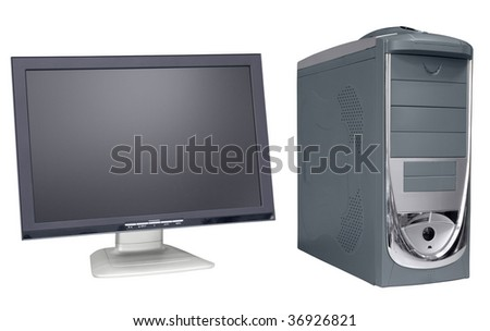 Computer and monitor isolated on white background