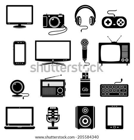Computer and technology icons - stock photo