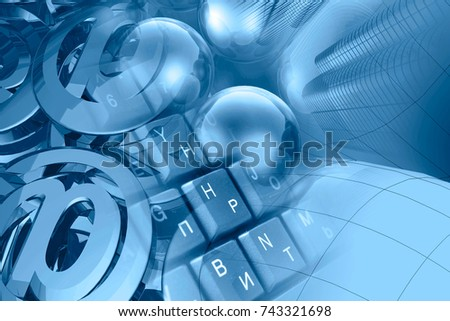 Computer background in blues - mail signs, balls, keyboard and buildings.