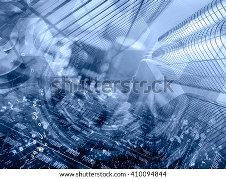 Computer background in blues with electronic device, buildings and digits. - stock photo