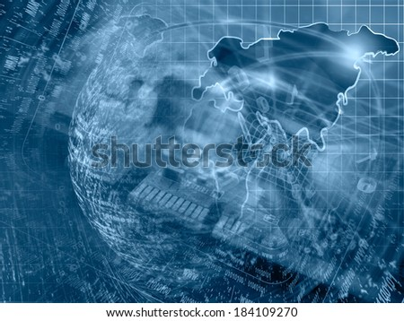 Computer background in blues with electronic device, map and digits. - stock photo