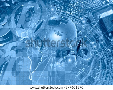 Computer background in blues with electronic device, map, mans and globe. - stock photo