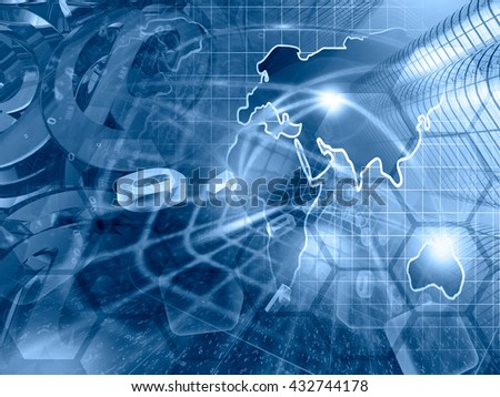 Computer background in blues with map, buildings and digits. - stock photo