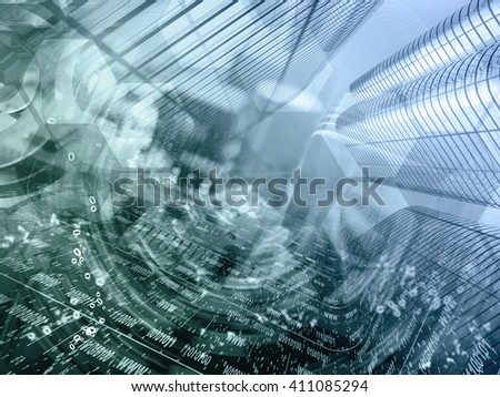 Computer background with electronic device, buildings and digits, in greens and blues. - stock photo
