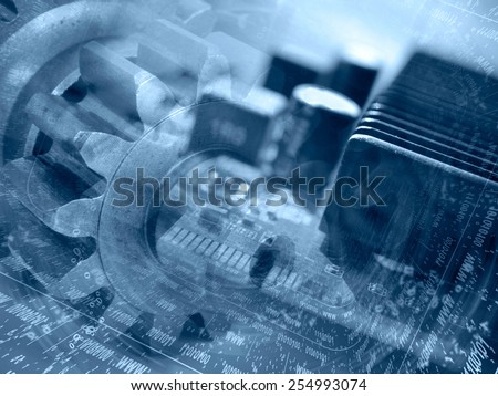 Computer background with electronic device, gear and digits, blue toned. - stock photo