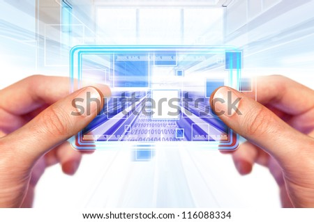 computer background with laptop technologies of the future - stock photo