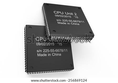 Computer black microchips isolated on white background - stock photo
