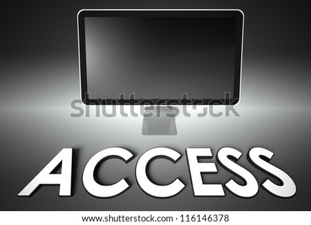 Computer blank screen with word Access, copyspace - stock photo