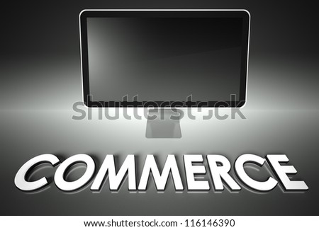 Computer blank screen with word Commerce, copyspace - stock photo