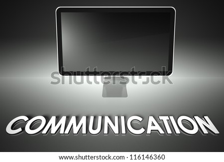 Computer blank screen with word Communication, copyspace - stock photo
