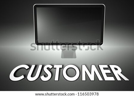 Computer blank screen with word Customer, copyspace - stock photo
