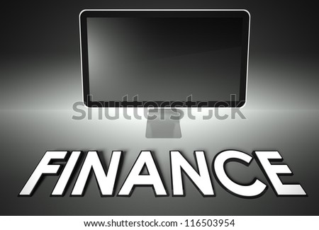 Computer blank screen with word Finance, copyspace - stock photo